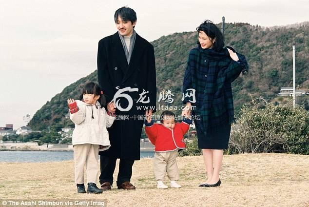 All grown up: Princess Mako (then four) father Prince Akishino sister Princess Kako (then one) and mother Princess Kiko pose for photographs in Kanagawa Japan in January 1996