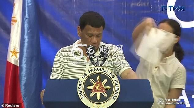 Duterte, who was close to the end of his 90-minute endorsement speech for campaigning senators, eventually found the bug on himself and quickly shook it off